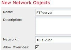 Network object defining FTP server address..