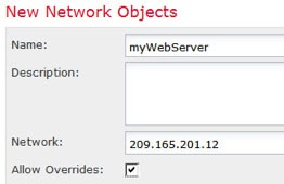 Network object defining the outside web server address.