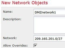 Network object defining the DMZ network 1 address.