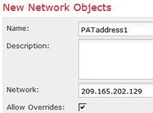 Network object defining the PAT address for DMZ network 1 address.