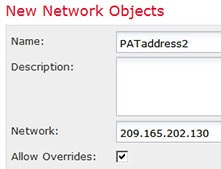 Network object defining the PAT address for DMZ network 2.