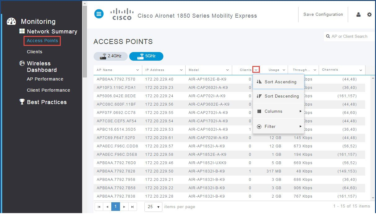 Cisco Mobility Express Deployment Guide - Monitoring
