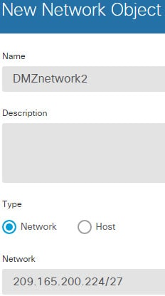 DMZnetwork2 network object.