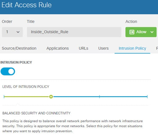 Intrusion policy selected in access control rule.