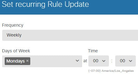 Recurring schedule for rule database updates.