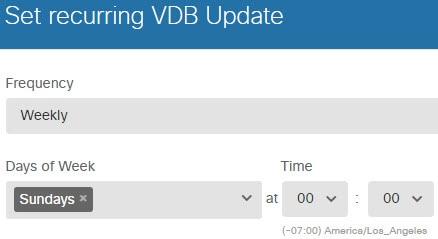 Recurring schedule for VDB updates.