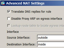 NAT46 rule advanced options with DNS rewrite enabled.