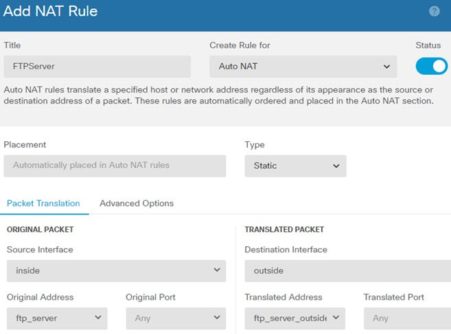 FTPServer auto NAT rule.