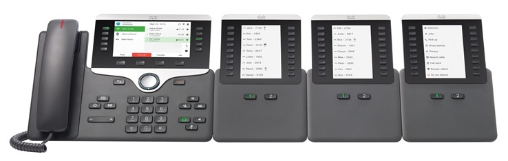 Cisco IP Phone 8861 with three Cisco IP Phone 8800 Key Expansion Modules