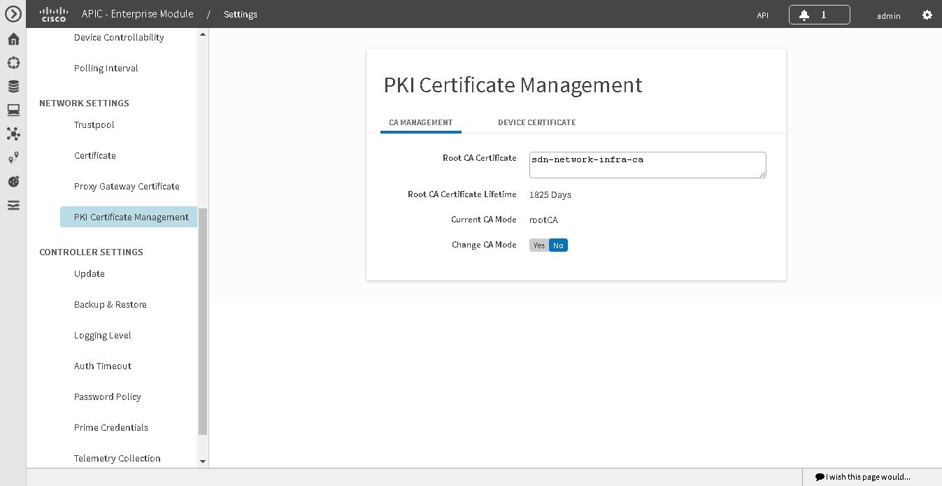Cisco application policy infrastructure controller enterprise changing the role of the pki certificate from root to subordinate xflitez Gallery