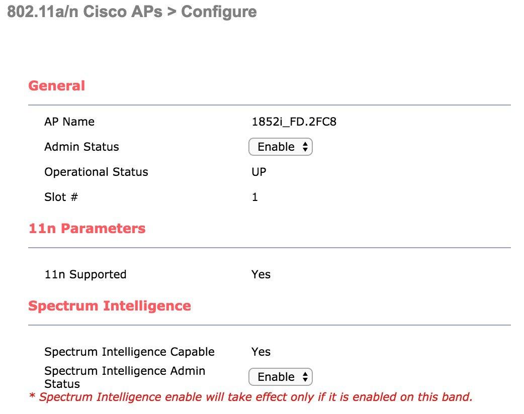 WLC version 8 6 Spectrum Intelligence on Cisco Wave 2 APs