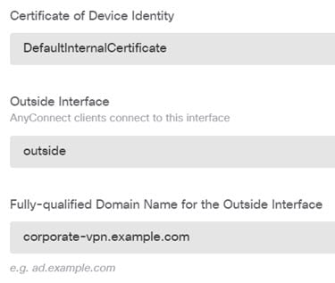 Remote access VPN device identity options.