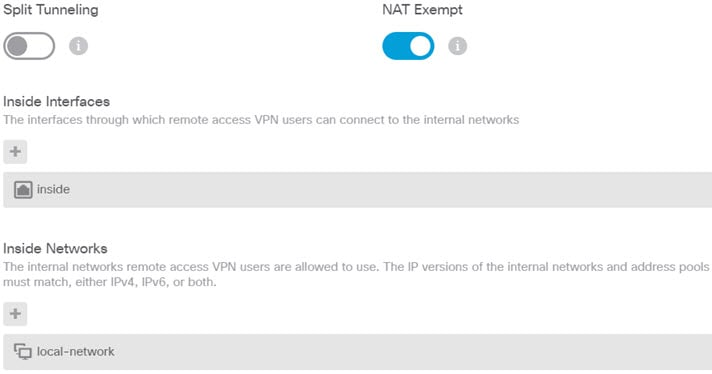 Remote access VPN split tunneling and NAT exempt options.