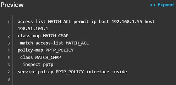 FlexConfig policy preview for interface inspection.