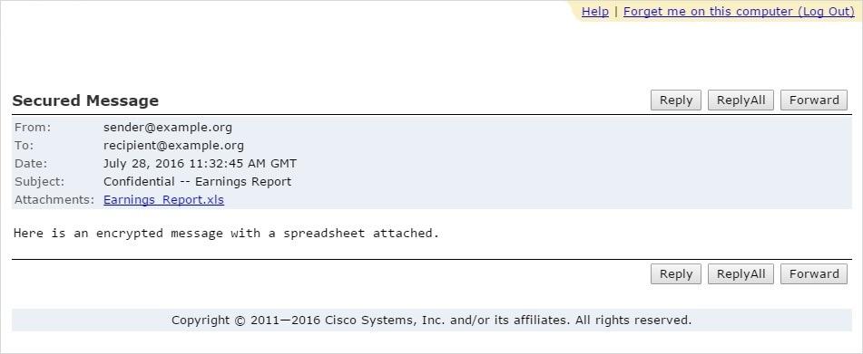 Cisco Registered Envelope Service 5 4 0 Recipient Guide - Opening