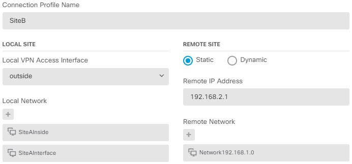Site A S2S VPN connection endpoint settings.