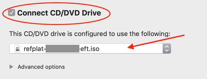 Screenshot: connecting the refplat ISO file to VM in VMware Fusion