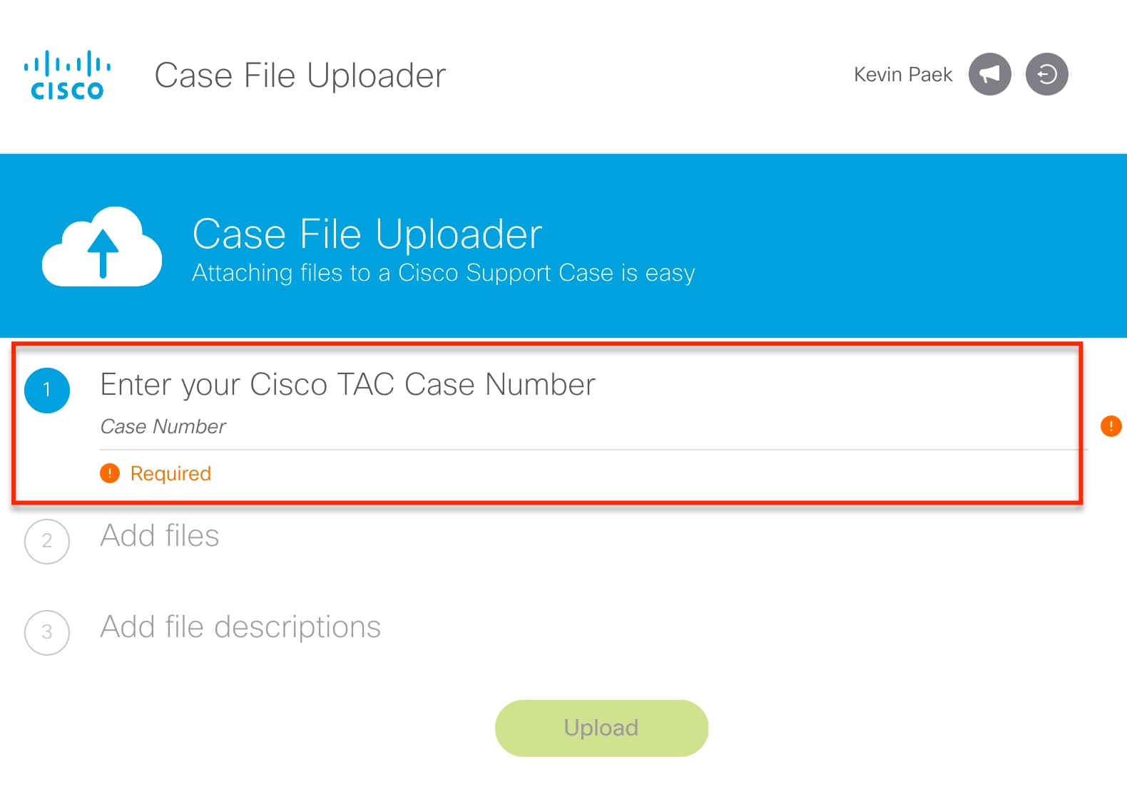 Fig 9 case number input screen