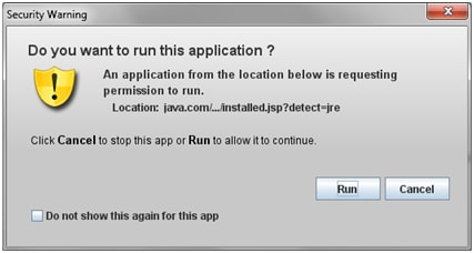 Dialog generated by JVM to prompt the user before launching an unsigned applet