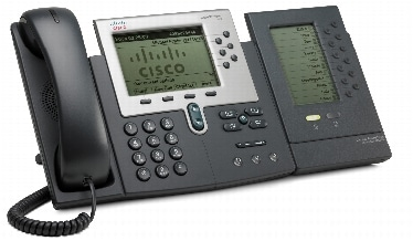 図 2 1 台の Cisco Unified IP Phone 7915 拡張モジュールを装備した Cisco Unified IP Phone 7962G