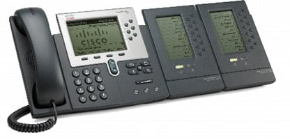 図 3 2 台の Cisco Unified IP Phone 7915 拡張モジュールを装備した Cisco Unified IP Phone 7962G