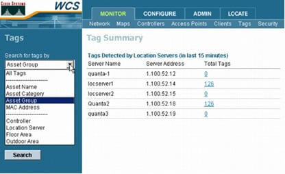 図 7 Cisco Wireless Location Appliance のタグ検索パラメータ