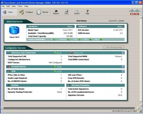 図 1 Cisco Router and Security Device Manager