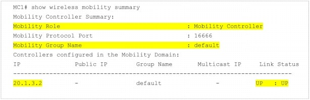 show wireless mobility summary コマンドの出力