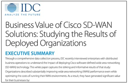 IDC Analyst Report: Business Value of Cisco SD-WAN