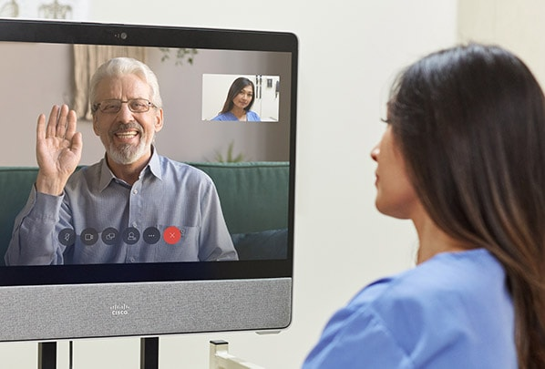 Patient using Telehelth Desk Pro with doctor