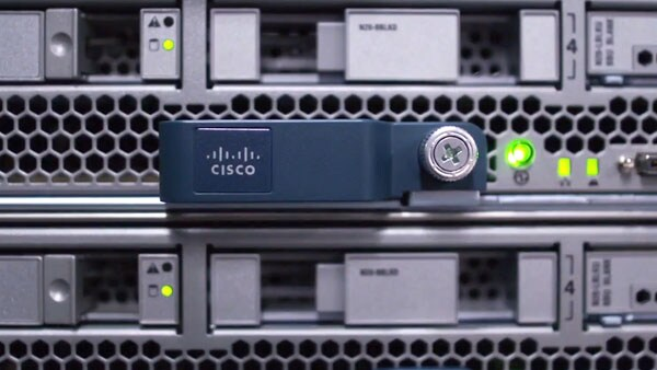 Close-up view of Cisco hardware