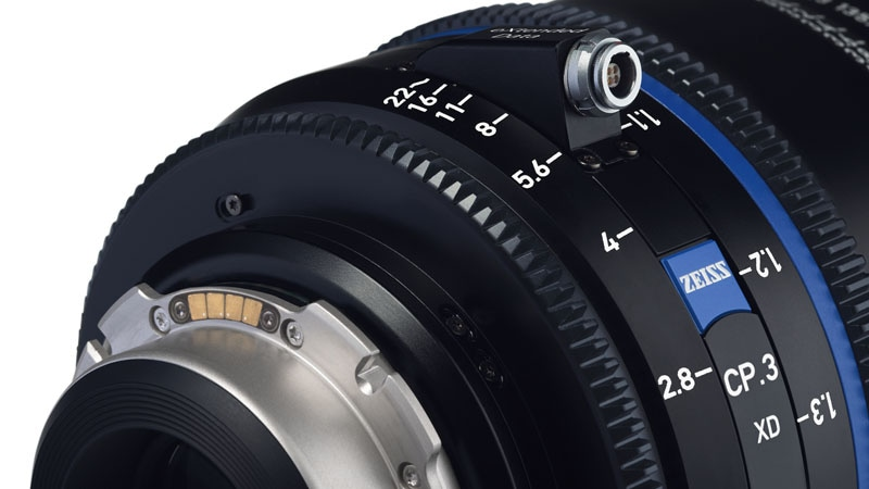 Close-up view of a Zeiss lens