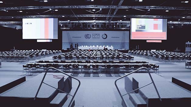 Large auditorium, prepped for the COP conference
