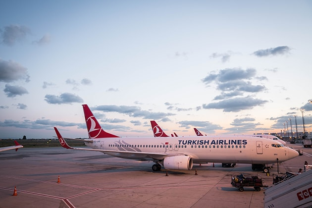 Turkish Airlines jet parked at an airport gate