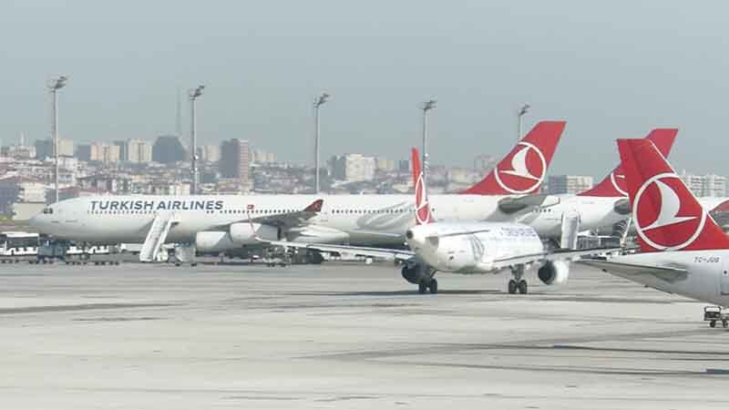 Turkish Airlines jets on a tarmac