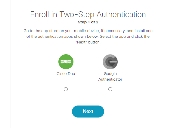 Enroll in two-step authentication