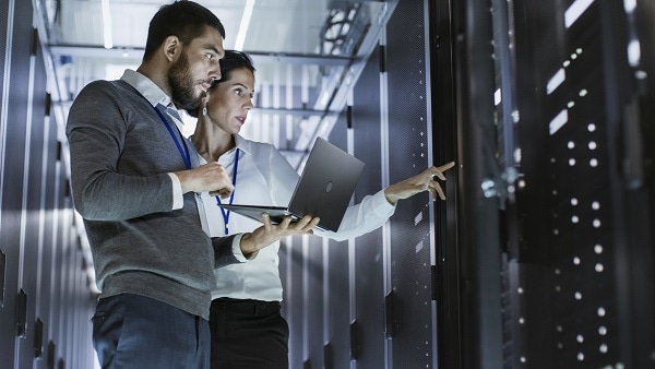 Network managers monitoring  data center