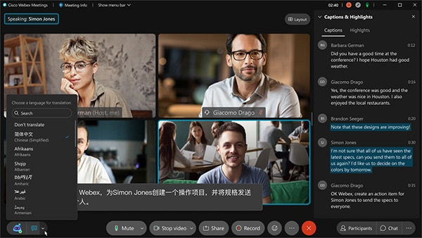 Webex offers real-time translations from English into 100+ languages