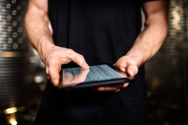 man using a tablet