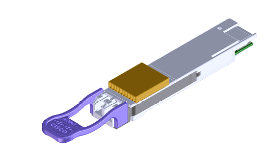Figure 2. QSFP-DD module showing the integrated heatsink on the nose to enable 20-W system cooling for ZR+