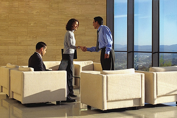 A photo of business people shaking hands