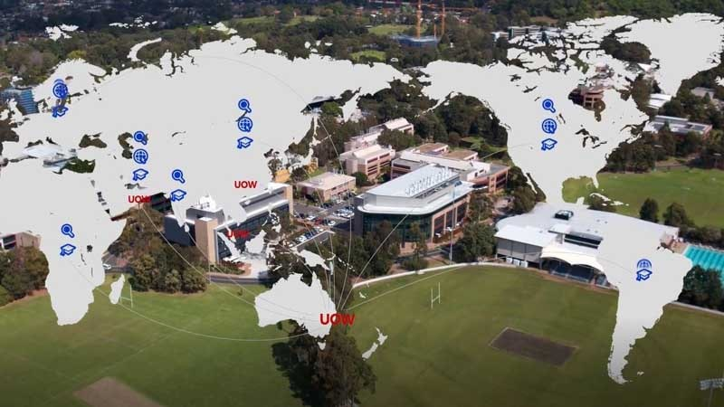 Map overlaid on top of University of Wollongong campus image
