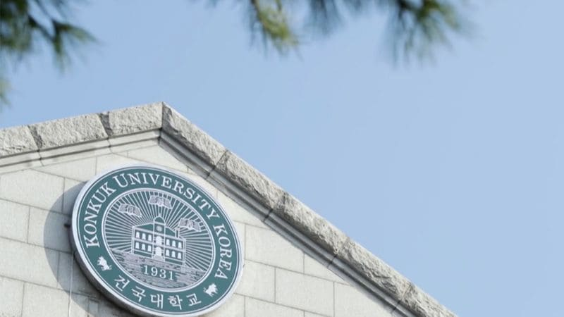 Konkuk Uni Logo on the top of building