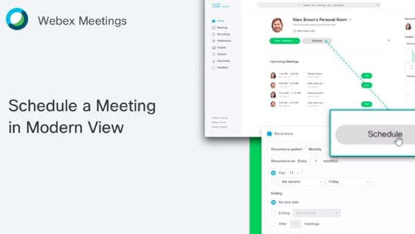 Schedule a Webex meeting