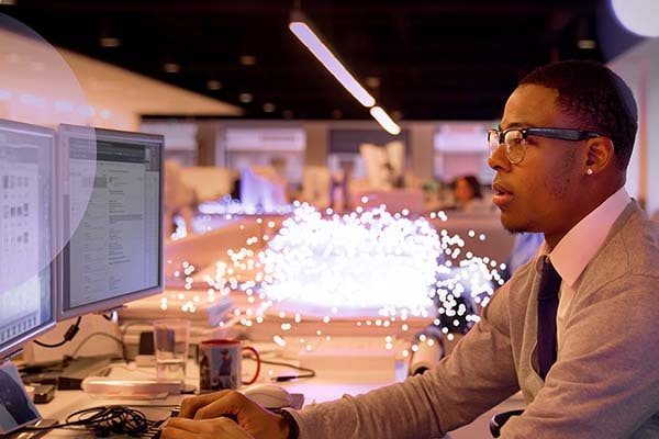 Young man working at a computer