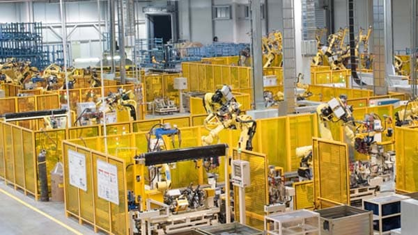 A factory floor with many machines