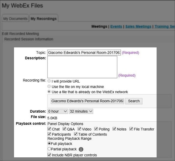 registrazione da webex
