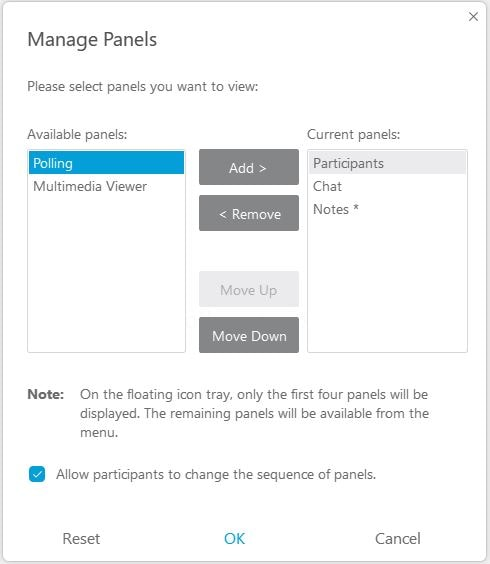 The Manage Panels window. Polling can be selected on the left. Clicking Add and OK will add the Polling Panel to your Webex Meeting.