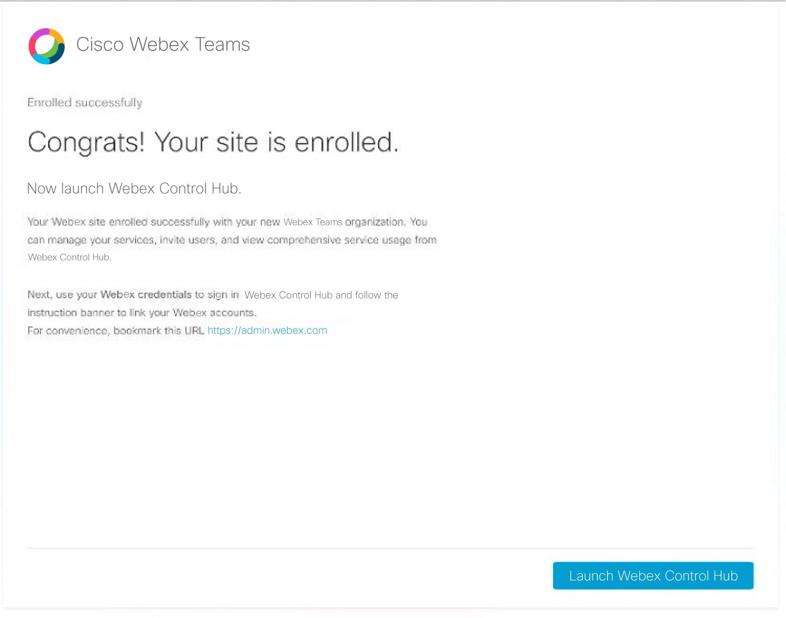 Link Cisco Webex Sites to Control Hub