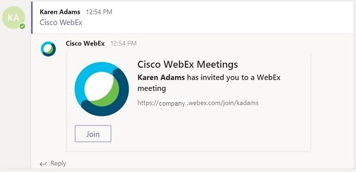 Cisco Webex Video Meetings for Microsoft Teams